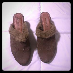 High heel fur slip on shoe